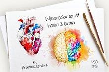 Watercolor artist heart&brain