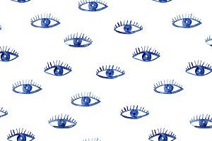 Watercolor eyes pattern