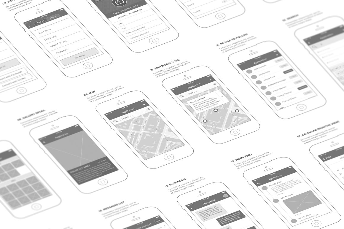 Mobl Wireframe Kit Product Mockups Creative Market