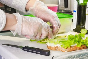 Healthy breakfast. Making a sandwich