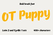 OT Puppy brush font by  in Display Fonts