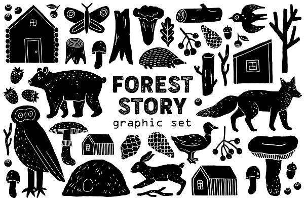 "Illustrations and Illustration Products: Katerina Osa - ""Forest Story"" Graphic Set"