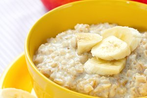 Oatmeal with fruit for breakfast
