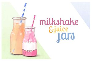 Milkshake & juice jars (with labels)