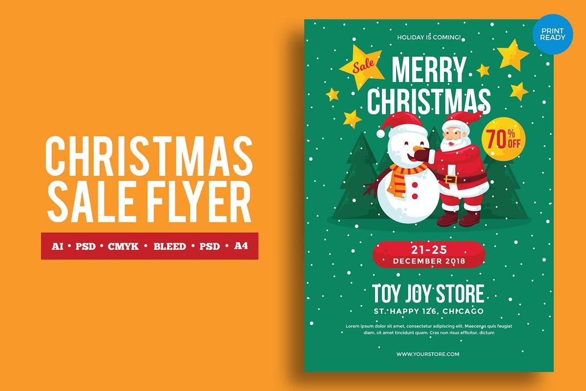 65c3c91421a3 Merry Christmas Sale 3 ~ Flyer Templates ~ Creative Market