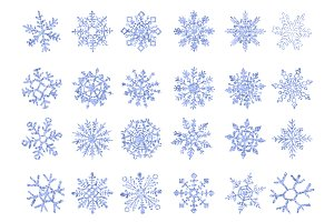 set of vector ice snowflakes blue fl