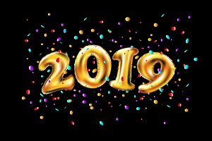 vector New year 2019 gold balloons