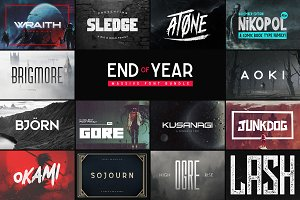 End of Year Font Bundle - 100+ Fonts