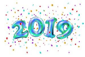 vector Realistic 2019 blue ballons