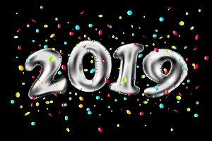 vector New year 2019 silver balloons