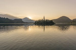 Sunrise on lake Bled