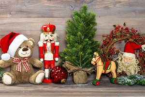 Christmas decoration with toys teddy