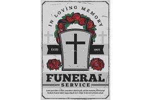 Funeral service, gravestone, wreath