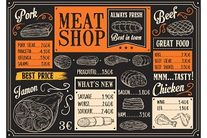 Meat products menu sketch