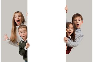 Banner with a surprised children