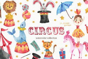 Circus Watercolor Clipart Set