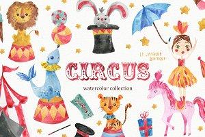 Circus Watercolor Clipart Set