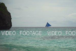 Sailing boat in blue sea. Boracay