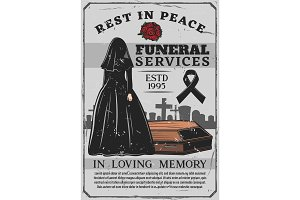 Widow and coffin, funeral service