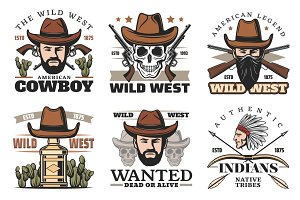 Western theme icons with cowboy