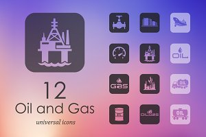12 OIL and GAS icons