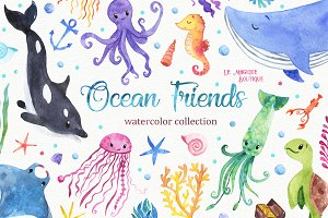 Ocean Friends Watercolor Clipart