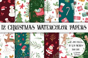 Christmas Watercolor Papers