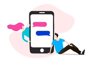 Dating app, Flat Vector illustration