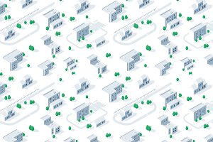 Isometric city map pattern, Vector