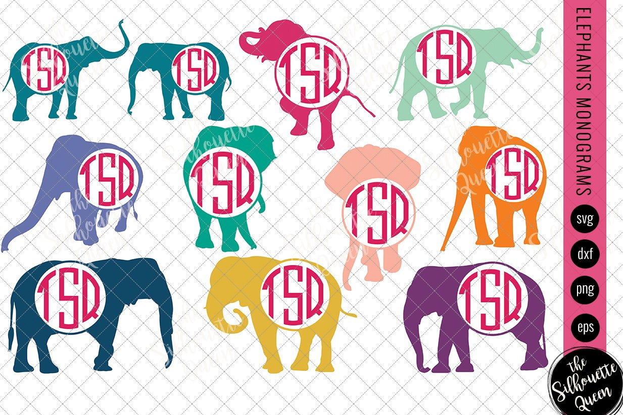 Elephant Svg Monogram Svg Circle F Pre Designed Illustrator Graphics Creative Market