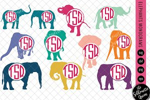Elephant Svg, Monogram Svg, Circle F