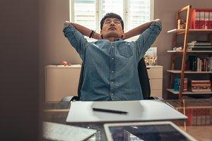 Designer taking break from work