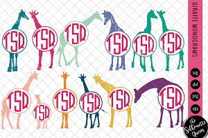 Giraffe Svg, Monogram Svg, Circle Fr
