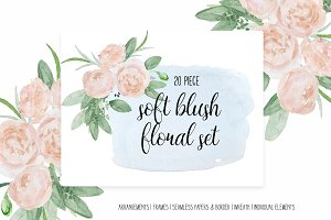 Watercolor Buff Pink Floral Clip Art
