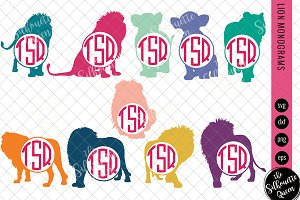 Lion Svg, Monogram Svg,Circle Frames