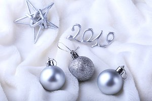 Silver gift box with ribbon bow and