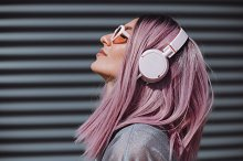 Woman with headphones by  in Technology