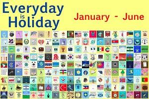 365 holidays cards + calendar 2019