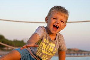 Happy little boy smiling portrait