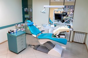 Dentist work place with marble floor
