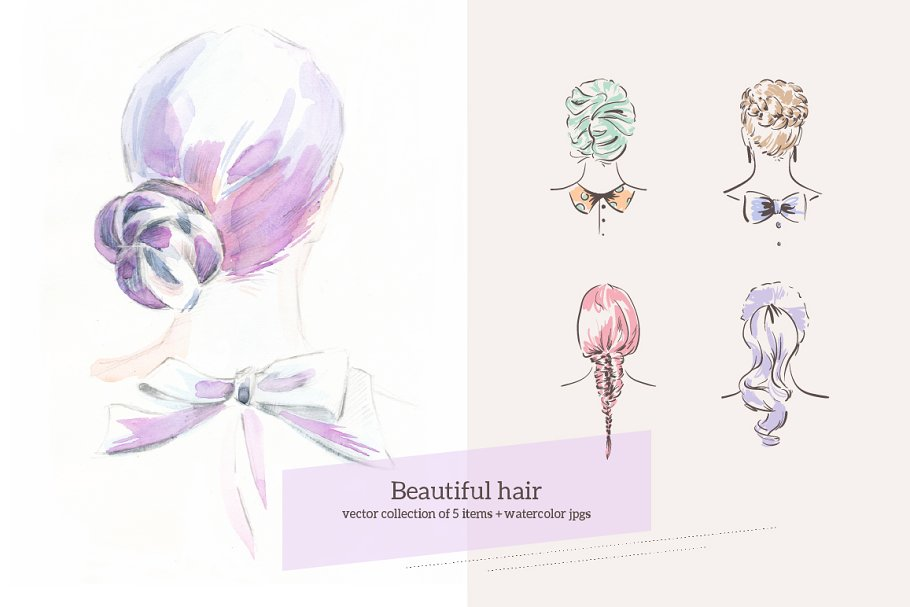 Amazing Girly Hairstyles Custom Designed Illustrations Creative Market Schematic Wiring Diagrams Phreekkolirunnerswayorg