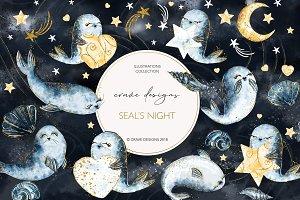 Seal's Night Clip Art