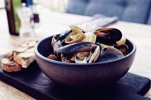 Shellfish sautee with hot jalapeno