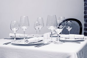 Place setting in a restaurant, toned
