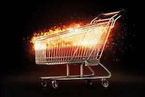 Burning shopping cart. 3D illustrati