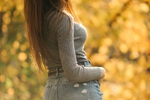 Image from back of brunette in