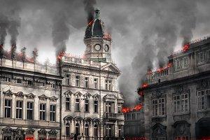 Destroyed burning building