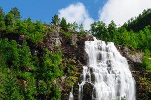 Tall norwegian waterfall