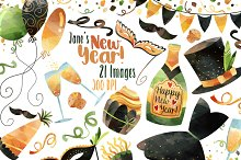 Watercolor New Years Clipart