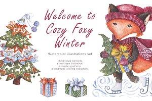 Cozy Foxy Winter Watercolor Set
